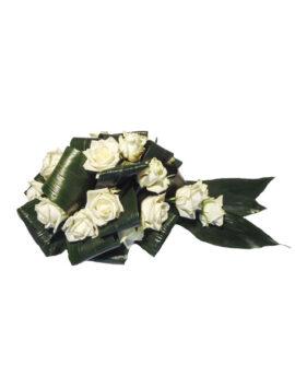 Rouwbloemstuk witte rozen