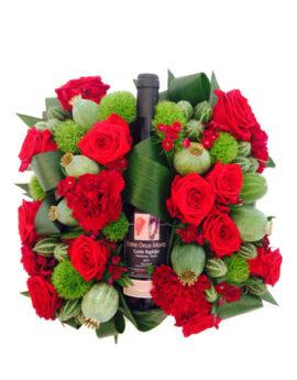 Rode wijn bloemstuk