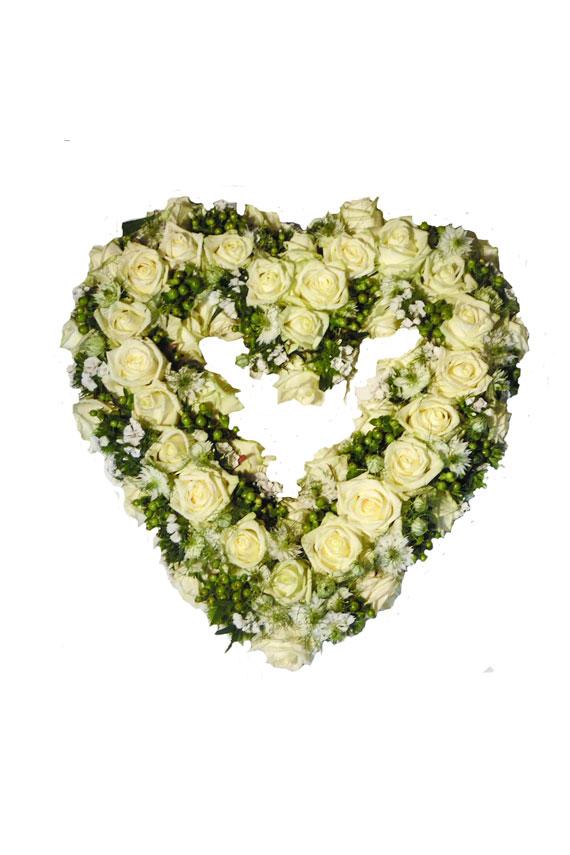 Wit hart bloemstuk