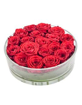 Rode rozen tafelstuk