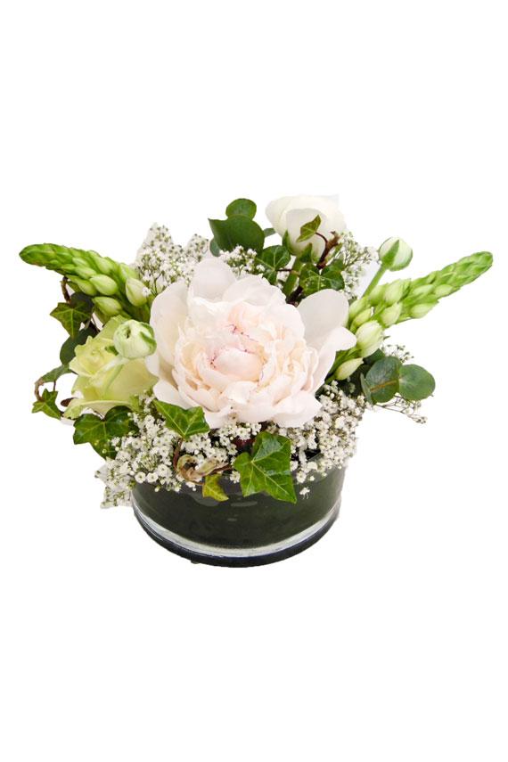 Witte pioen bloemstuk - 2 stuks