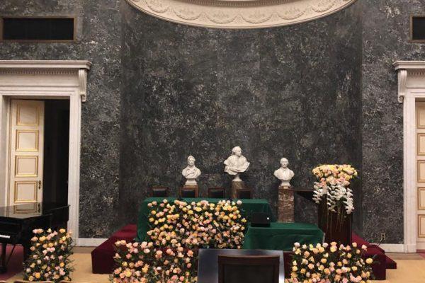 190212 Bloemstuk huldiging koningin Mathilde 4 FlowersRme